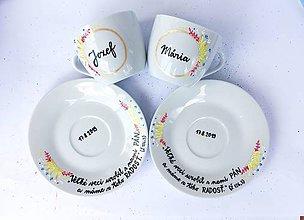 Nádoby - Svadobné šálky s menami a žalmom (skladom v hranatych salkach) - 10978558_