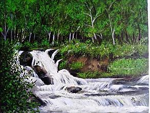 Obrázky - Vodopád - maľovaný obrázok - 10980072_