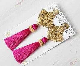 Náušnice - Náušnice so strapcom a čipkou. Cyklaménové - 10980023_