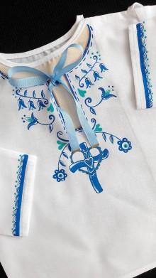 Detské oblečenie - maľovaná košieľka ku krstu - 10980350_