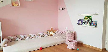 Textil - Detský mantinel 280 biela biekakáva ružová - 10977630_