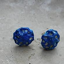 Náušnice - napichovačky láva kráľovské modré - 10977854_