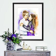 Obrazy - Akvarelový obraz na objednávku - dvojportrét - 10980363_