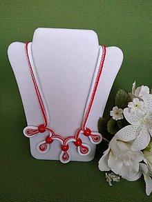 Náhrdelníky - Náhrdelník (červeno - biely) - 10980167_