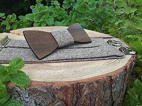 Doplnky - Pánsky drevený motýlik a traky - 10979111_