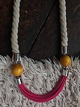 Náhrdelníky - Růžová.béžová.žlutá - 10979701_