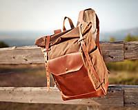 Batohy - Svetlo hnedý mestský batoh z kože a voskovaného plátna. - 10978688_