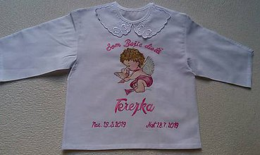 Textil - Maľovaná krstová košieľka - 10979427_