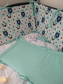 Textil - Mantinel do postieľky mentolové medvede - 10978055_