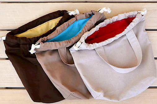 Tvoritaška béžová s červenou ~ projektová taška