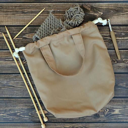 Tvoritaška kapučíno s tyrkysovou ~ projektová taška