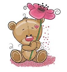 Galantéria - Nažehľovačka Medvedík s kvetom - 10977744_