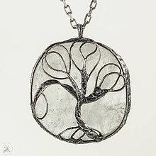 Náhrdelníky - Cínovaný prívesok - krištáľ - stromček - 10977238_