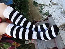 Obuv - Pásikavé podkolienky čierna a biela č.39-41 - 10980606_