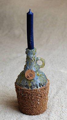 Svietidlá a sviečky - Svietnik z vínnej fľaše - 10978581_