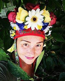 Ozdoby do vlasov - Kvetinová parta Červený šatečku - 10978757_