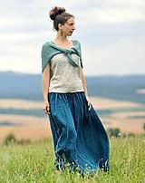 Sukne - Maxi sukně lněná petrolejová - 10980276_