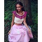 - Bavlnený crop-top s volánom - 10979269_