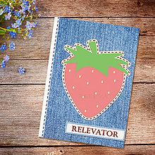 Papiernictvo - Džínsový denník ovocný (jahodový) - 10977890_