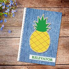 Papiernictvo - Džínsový denník ovocný (ananásový) - 10977936_