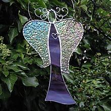 Dekorácie - Anděl fialový duhový, asymetrický - 10983426_