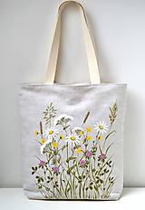 Veľké tašky - Ľanová taška ručne maľovaná-Lúčne kvietky - 10983101_