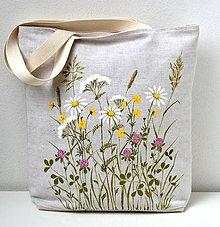 Veľké tašky - Ľanová taška ručne maľovaná-Lúčne kvietky - 10983102_