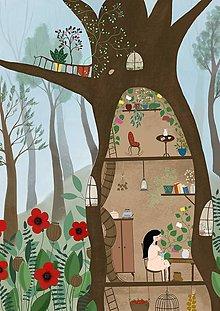 Obrazy - Amélia a makove kvety / reprodukcia ilustracie - 10981350_