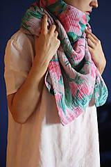 Textil - Gázovinová prikrývka/Šál Olejové pivónie - Ružová - 10983210_