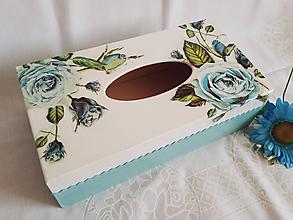 """Krabičky - Zásobník na vreckovky """"Modrá ruža"""" - 10983161_"""
