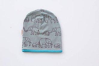 """Detské čiapky - Dvojvrstvová čiapka""""sloní pochod"""" - 10983363_"""