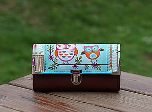 Peňaženky - Peněženka Hnědá Sovičky, 18 karet, fotky, 2 kapsy - 10982273_