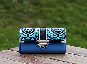 Peňaženky - Peněženka Amy Butler Modrá, 18 karet, prostorná - 10982317_