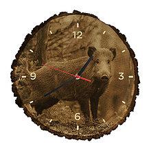 Hodiny - Drevené hodiny Diviak lesný (Čierne ručičky) - 10982507_
