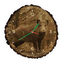 Hodiny - Drevené hodiny Diviak lesný (Zelené ručičky) - 10982508_