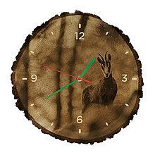 Hodiny - Drevené hodiny Kamzík vrchovský (Zelené ručičky) - 10983741_