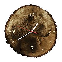 Hodiny - Drevené hodiny Medveď hnedý (Biele ručičky) - 10983813_