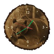 Hodiny - Drevené hodiny Medveď hnedý (Zelené ručičky) - 10983818_