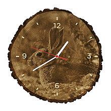 Hodiny - Drevené hodiny Králik divý (Biele ručičky) - 10983993_