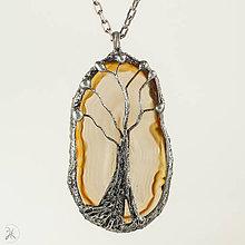 Náhrdelníky - Cínovaný prívesok - achát - stromček - 10982040_