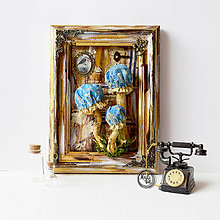 Obrazy - Vintage obraz- Modré hríby - 10983157_
