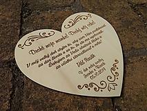 Dekorácie - Poďakovanie rodičom - srdce - 10983648_