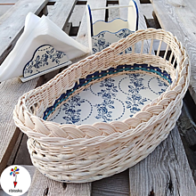 Košíky - Sada do kuchyne elipsa folklór modrá - 10984647_