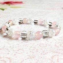 Náramky - Elastic Rose Quartz Crystal Bracelet / Elastický náramok horský krištáľ a ruženín - 10985558_