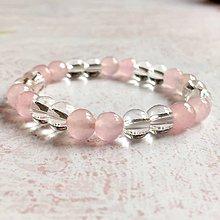 Náramky - Elastic Rose Quartz Crystal Bracelet / Elastický náramok horský krištáľ a ruženín - 10985584_