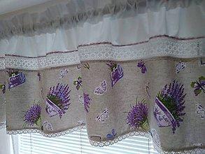 Úžitkový textil - Levandulová záclonka - 10984639_