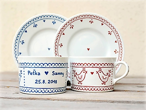 Nádoby - Maľovaná šálka na kávu s podšálkou (200 ml): Vtáčik folk (SVADOBNÝ dar) - 10984709_
