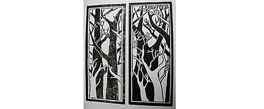 Grafika - Dvojdielna grafika - Holé stromy - 10985749_