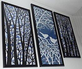 Obrazy - Vtáčiky na stromoch - trojdielny obraz - 10985765_
