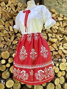Šaty - Folklórny dámsky kroj červený 3 - 10984749_
